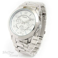 Silver 3D Geneva Brushed Finish Bracelet Boyfriend Style Women's Watch