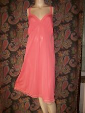 Vintage Shadowline Coral Silky Nylon Plus Size Empire Slip Nighty Lingerie 46