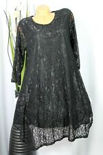 Schöne Spitzen  Long-Tunika   Kleidchen   Hängerchen   Schwarz   Gr:40,42,44