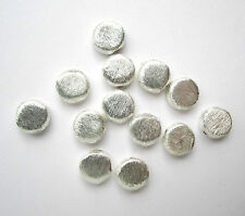 10 silver plated brushed coin disc textured round beads - 3x10mm