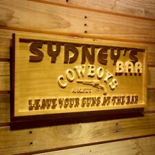 wpa0113 Name Personalized Cowboys Bar Leave Gun Beer Wood Engraved Wooden Sign