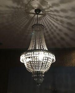 KRONLEUCHTER KRISTALL 75cm DECKENLAMPE LAMPE KORBLEUCHTER KRISTALLLEUCHTER NEU