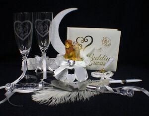 Lion King DISNEY Wedding Cake Topper LOT Glasses Server guest book garter Pen to