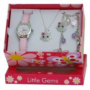 Little Gems Child Kitten Cat Watch  & Jewellery gift Set Silver Plated R2212