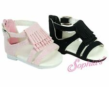 "Doll Clothes AG 18"" Sandals Black Shoes Suede Sophia Fits American Girl Dolls"