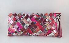 Nahui Ollin Shiny Metallic Pink Gum Candy Wrapper Clutch Purse Recycled Bag