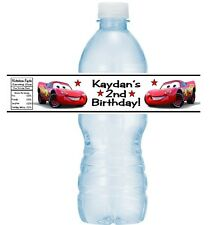 12 Cars Lightning McQueen Birthday Party Water Bottle Stickers Labels Favors