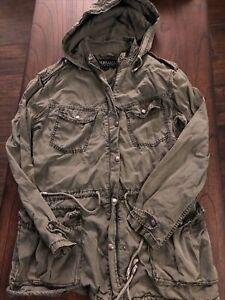BUFFALO DAVID BRITTON Olive Green Anorak Utility Hooded 4 Pocket Jacket S/P