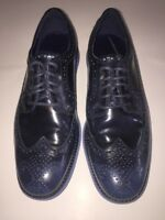 EUC Cole Haan Lunargrand Men's Wingtip Shoes Blue With Blue Rubber Soles Sz 8