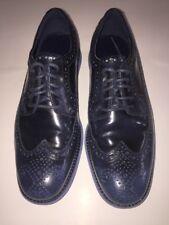 EUC Cole Haan Lunargrand Men's Wingtip Shoes Blue With Blue Rubber Soles Sz 8