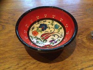 Colourful Red Spanish Ceramic Shallow Bowl Small  8cm Dia. , 3cm Deep
