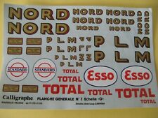 CARPENA CALLIGRAPHE PLANCHE DECALQUES WAGONS HORNBY SERIES  NORD PLM TOTAL ESSO