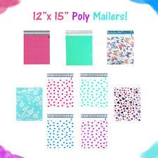12 X 15 Designer Poly Mailers Pinkteal Polka Dotshearts Flat Shipping Bags