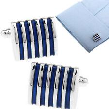 Men's Business Wedding Cuff Links Accessories Shirt Suit Blue Striped Cufflinks