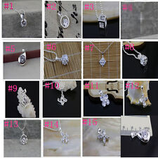 Wholesale Jewelry 925 Sterling Silver  Crystal Pendants Necklace Chain