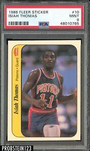 1986 Fleer Sticker Basketball #10 Isiah Thomas Pistons RC Rookie HOF PSA 9