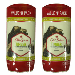 Pack of (2) Old Spice Men's Deodorant Timber With Sandalwood 3 oz ea Total 4 QTY
