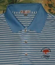 Mens PETER MILLAR Blue White Summer Comfort Golf Polo Shirt Kiawah Large L