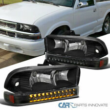 Fit 98-04 Chevy S10 Blazer Pickup Black Headlights+LED Bumper Driving Lamps Pair