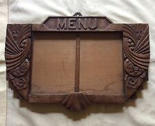 Original early 1920s Art Deco French menu holder bistro carved wood