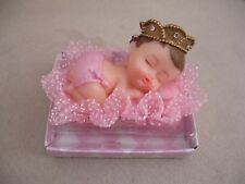 "Baby Shower 3"" Sleeping Baby Girl Princess with Crown Favor/Gift/Cake Topper"
