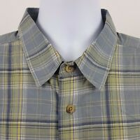 Woolrich Green Yellow Blue Windowpane Plaid Men's S/S Casual Button Shirt Sz XL