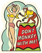 Pin-Up Hot Rod  Don't Monkey  1950's  Vintage Style  Travel Decal  Sticker Label