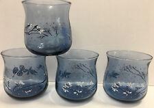 Set of 4 Vintage Juice Cocktail Tumbler Drinking Glasses Blue Tint White Flowers
