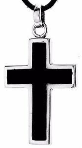 Cross Black Noble Plain Easy Silver 925 Band / Chain pendant No. 173