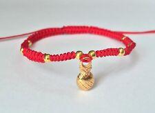 Lucky Red String Feng Shui Gold Pineapple Adjustable Shamballa Bracelet Fashion