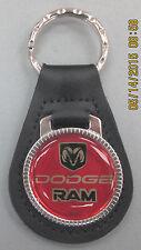 Vintage Red DODGE RAM Black Leather Chrome Keyring Key Fob Key Holder