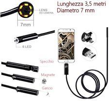 Sonda con Telecamera Endoscopica per Cellulare USB Android ispezioni tubature