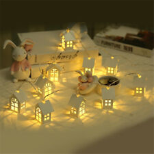 HQ LED Light Wood HOUSE Cute Christmas Tree Hanging Ornaments Holiday Xmas Gifts