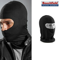 Microfibre Open Face Balaclava -Beechfield Black Warm Face/Neck Winter Motorbike