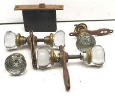 Vintage Antique Door Hardware Lot 6 Glass Knobs Closet / Door+Lock+ 4 Trim Plate