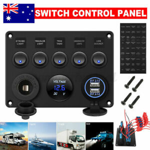 5 Gang 12V Switch Control Panel USB ON-OFF Toggle Rocker for Car Marine Boat RV