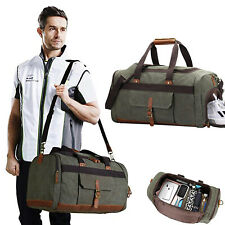 Men/Women Soft Canvas Travel Tote Leather Trim Shoulder Handbag Duffel Bag Green