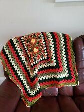 Vintage Crochet Knit Afghan Throw Lap Blanket Orange Green Yellow 41 x 36