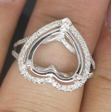 Heart Cut 12mm Solid 14Kt W/Gold Natural Diamond Semi Mount Engagement Ring