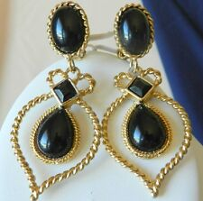 "VINTAGE CAROL DAUPLAISE BLACK & GOLD TONE CLIP EARRINGS 3"" LONG STUNNING"