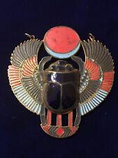 Vintage Brass ART DECO Nouveau EGYPTIAN REVIVAL Enamel Scarab Pendant Medallion