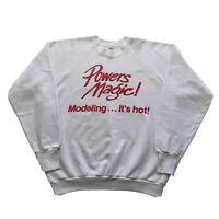 Vintage 80s Sweatshirt Mens Large Raglan White Modeling Hip Hop Pullover 90s