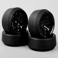 4PCS 1:10 Drift 5 Degree Hard Plastic Tyre Tires & Wheel For HPI RC Car BBNK
