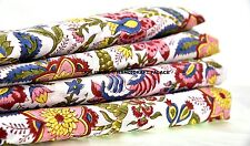 "Indian Hand Block Floral Printed Cotton Fabric Dressmaking 44"" Sewing By 5 Metre"