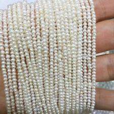 WHOLESALE 3-4MM WHITE FRESHWATER PEARL RONDELLE NUGGET BEADS 15INCH Y1762