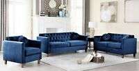 Lory Velvet Living Room Sofa Set 3 Piece 2-Piece Loveseat Chair Multicolor