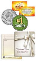 #1 GRANDPA Grandparents' Day JFK Kennedy Half Dollar Colorized U.S. Coin