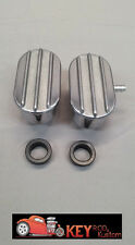 """Finned aluminum 4""""oval breather pair set standard & PCV valve cover SBC BBC Ford"""