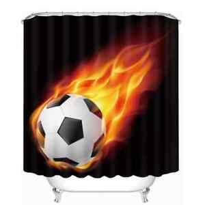 A Fast Football On Fire 3D Shower Curtain Polyester Bathroom Decor  Waterproof