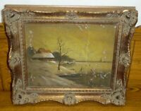 Old Framed Painting On Panel - AS IS - Winter Scene Skaters On Lake - Klein